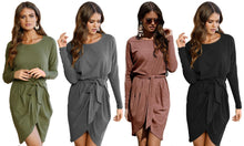 Long-Sleeved Wrap Style Dress