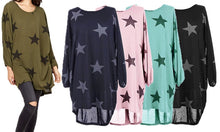 Oversized Women's Top with Star Print
