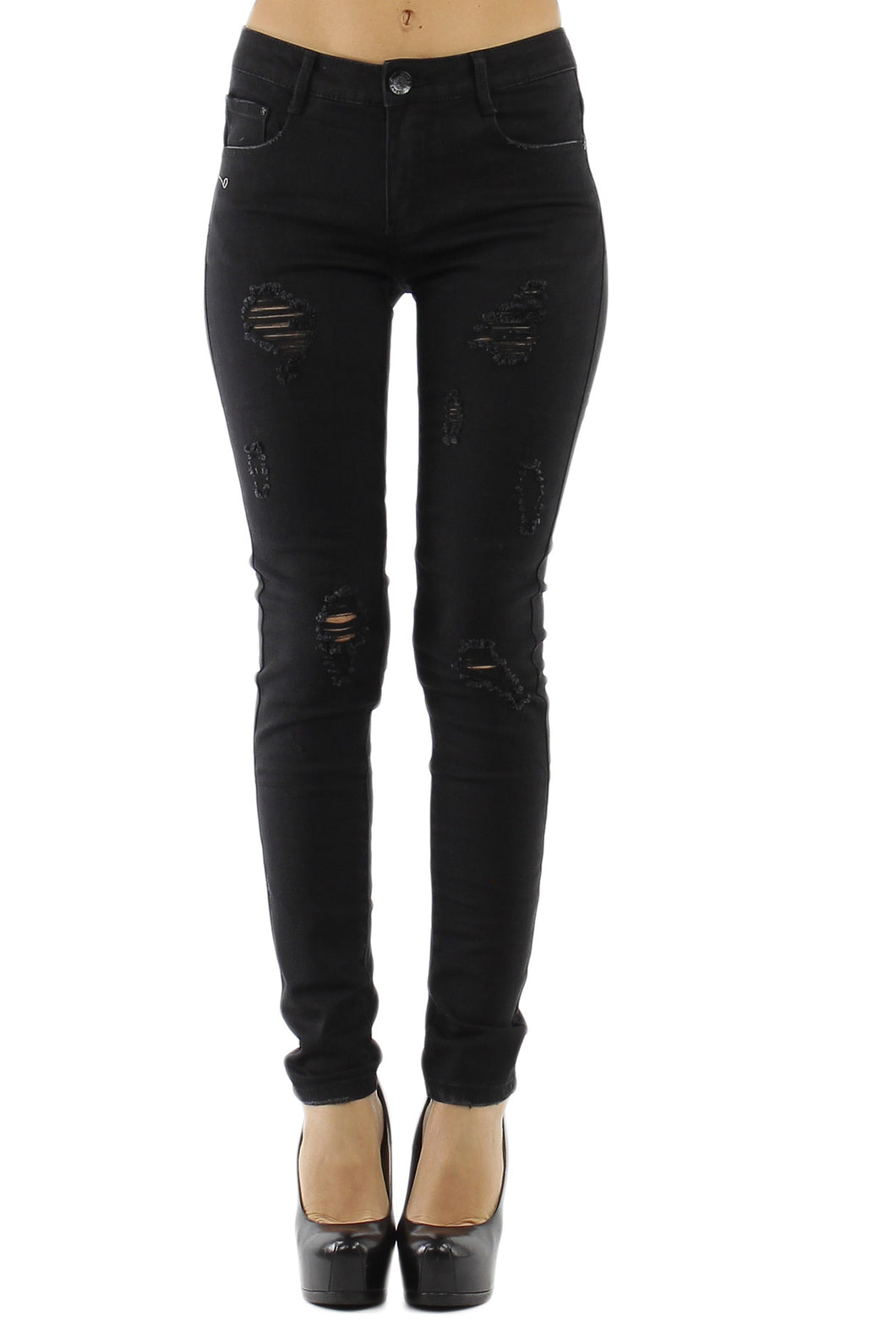 Black Skinny Ripped Jeans