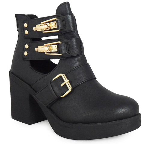 Cut Out Ankle Boots BLACK