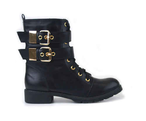 Black ankle boot with lace up fastening and Gold buckles