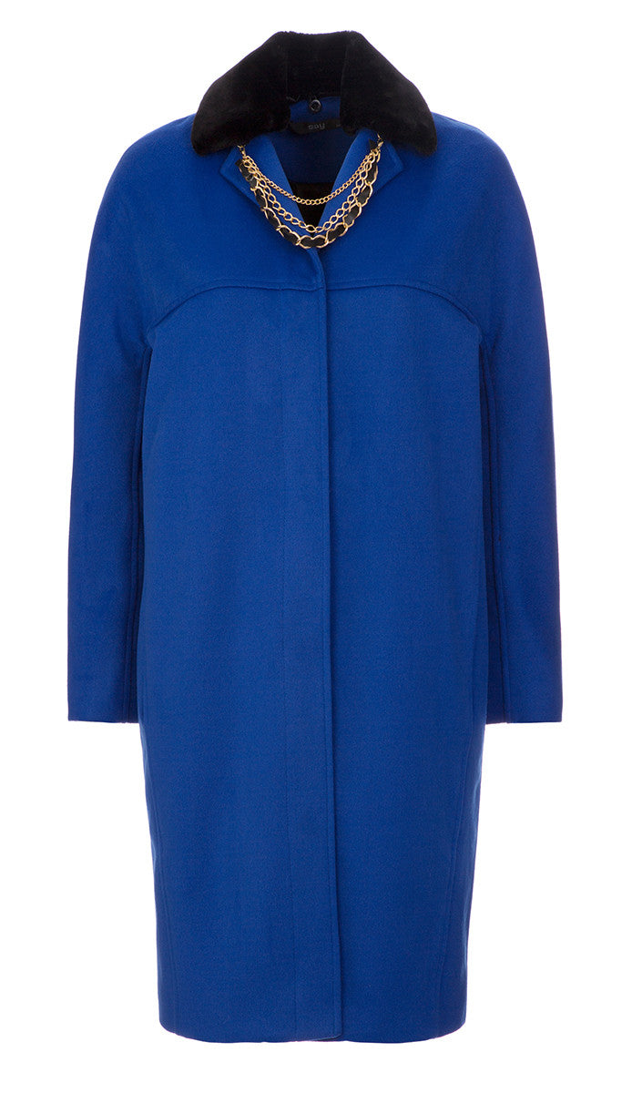 Cocoon Coat Royal Blue with Faux Fur Hem
