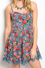 Denim Look Floral Print Dress