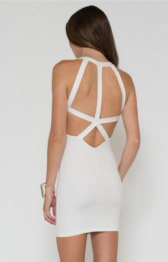 Ivory Back Detail Bodycon Dress