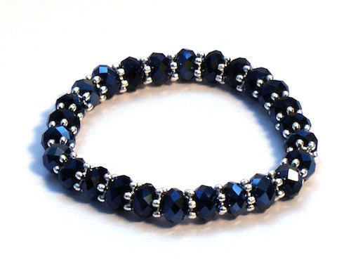 Black Crystal Beads Bracelet Stretchy