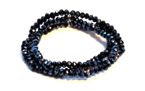 4-Row Black Faceted Crystal Stretchy Bracelet