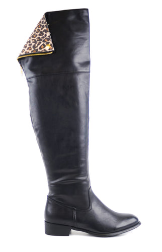 Black High Boots with Leopard Lining
