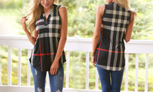 Women's Check Sleeveless V-Neck Shirt