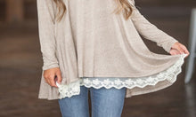 Long-Sleeved Lace Trim Top