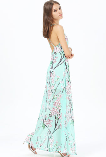 Floral Strappy Maxi Dress Mint