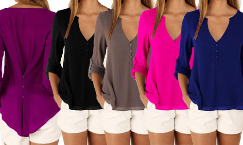 Button Back Chiffon Blouse