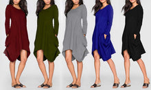 Oversized Long-Sleeved Pocket Dress
