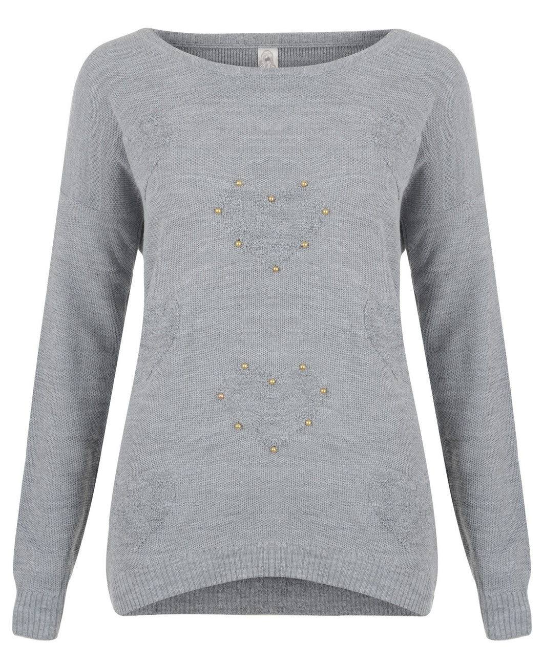 Stud Hearts Jumper Grey