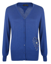 Blue Cardigan with Heart Pocket