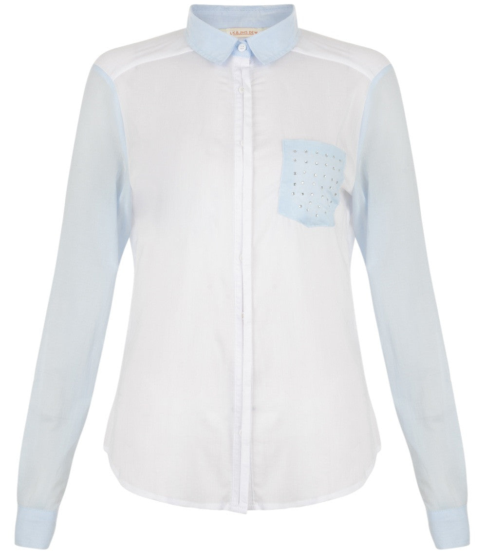 WHITE SHIRT WITH BLUE POCKET