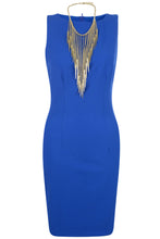 Royal Blue Dress with Necklace