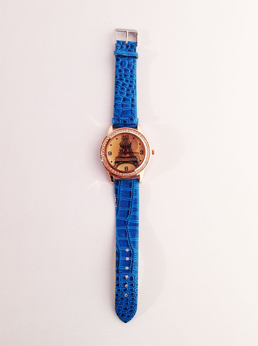 Blue Eiffel Tower Watch With Crystals