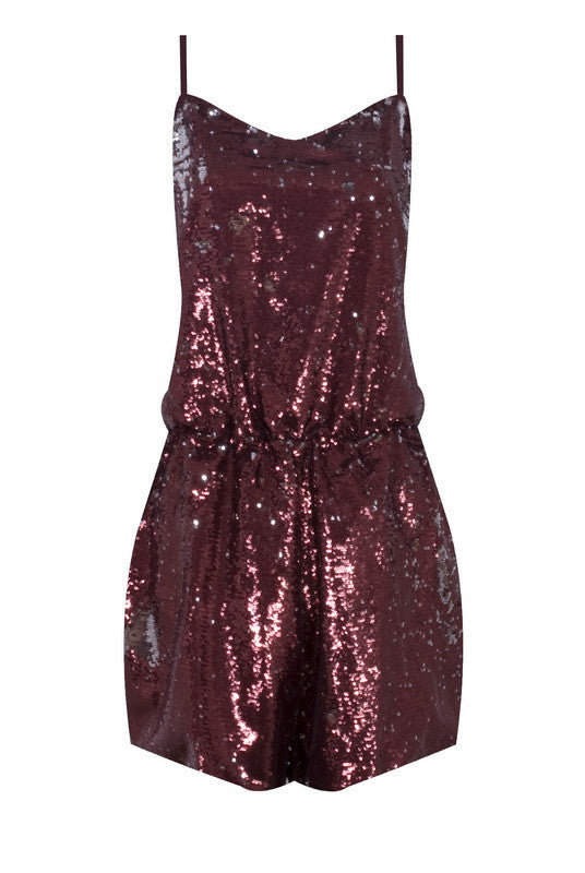 BURGUNDY SEQUIN STRAPPY PLAYSUIT