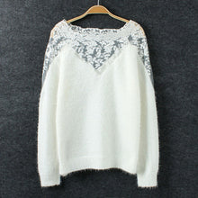 Lace Insert white Sweater