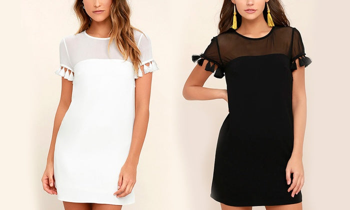 Tassel Sleeve Shift Dresses