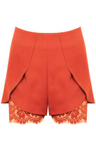 Orange High Waisted Shorts with Lace