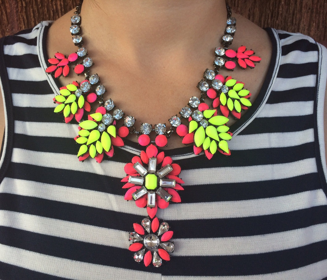 Statement Neon Gem Necklace Hot Pink
