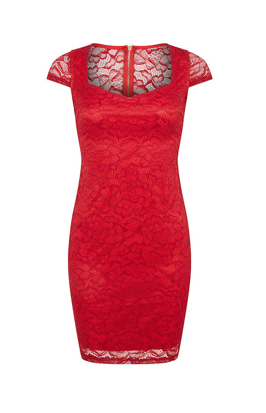 Red Lace Dress With Zip Back
