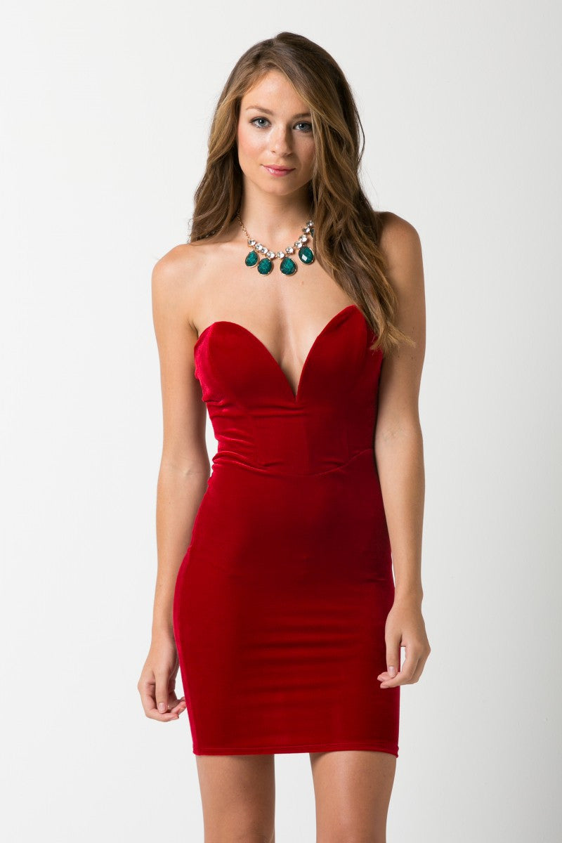 Heart on fire Velvet Red Dress