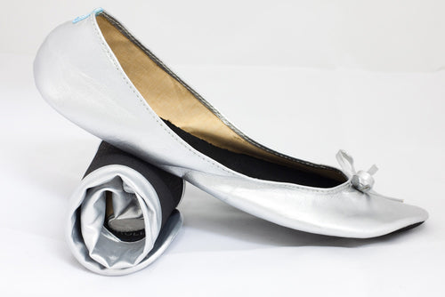 Silver Roll Up Pumps