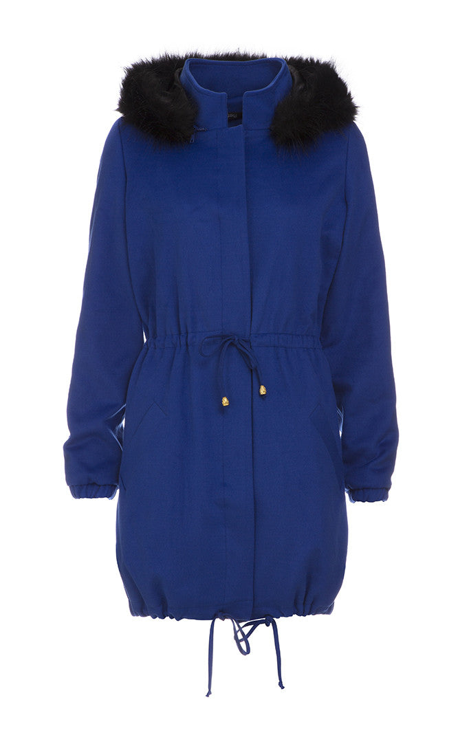 Royal Blue Parka Jacket hood fur trim hood