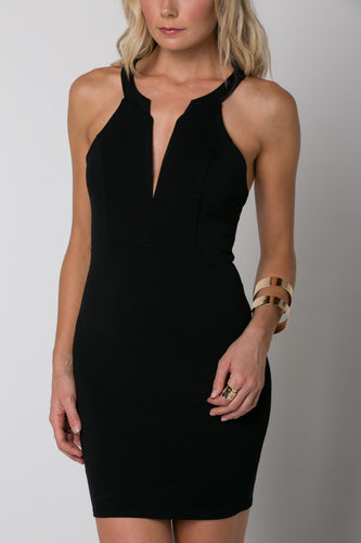 V-neck Fitted Dress with Strap Back Detail