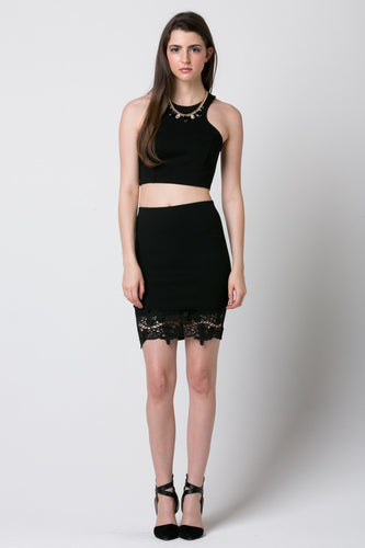 Verona Crop Top & Midi Skirt with Bottom Lace Set