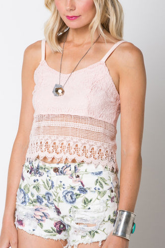 Dust Rose Lace Tank Crop Top