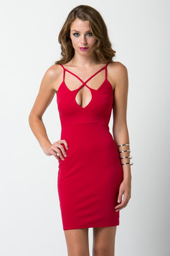 Red Fitted Dress with Neck Strap Detail