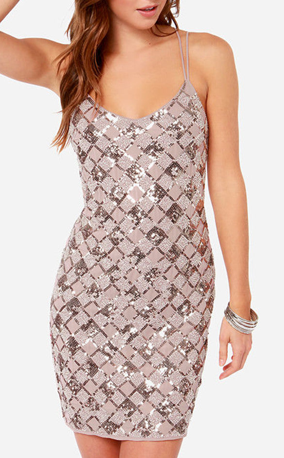 Beige Sequin Dress With Spaghetti Straps