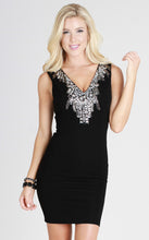 Sparkly Beaded Deep V Neck Dress