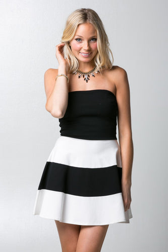 Stripe Tube Skater Dress