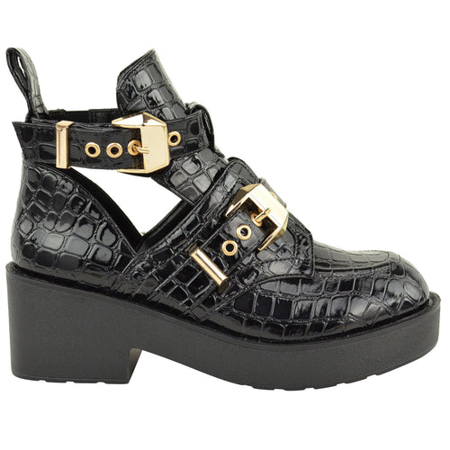 CHUNKY ANKLE BOOTS CROC
