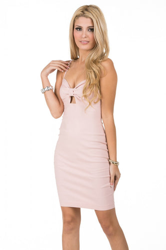 Bodycon Dress With Front Bow Cut Out Detail