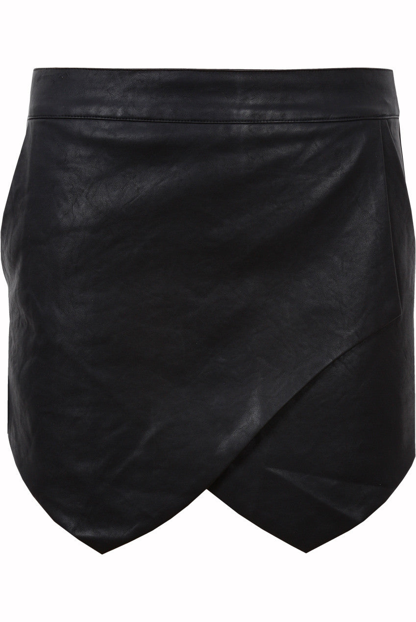 Black PVC Skirt Fall Tailored Shorts