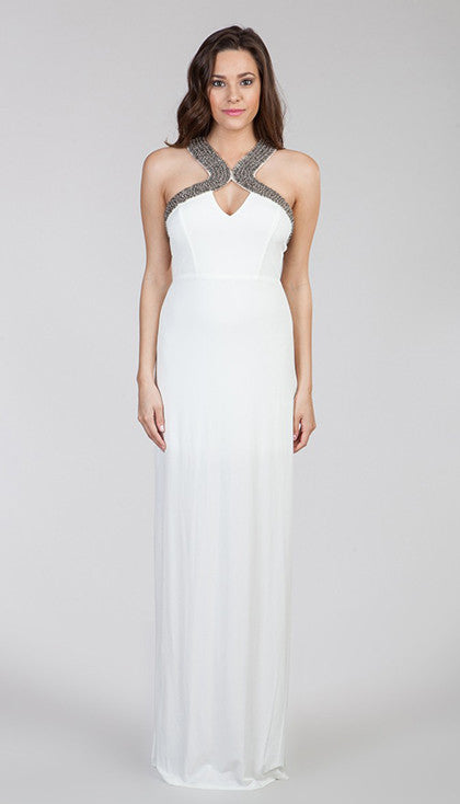 White Beaded Maxi Dress
