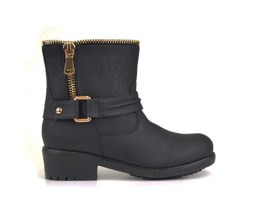 Black ankle boot with Gold Zipper