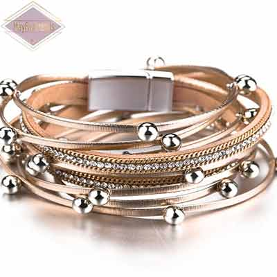 Boho-Chic-Stacking-Leather-Bracelet-Champagne