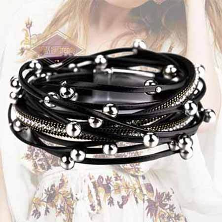 Boho-Chic-Stacking-Leather-Bracelet-color-black