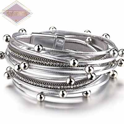 Boho-Chic-Stacking-Leather-Bracelet-color-silver