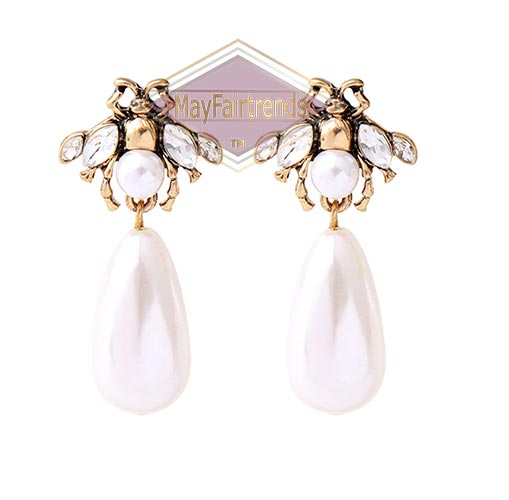 Dangle-Drop-Pearl-Crystal-Earrings