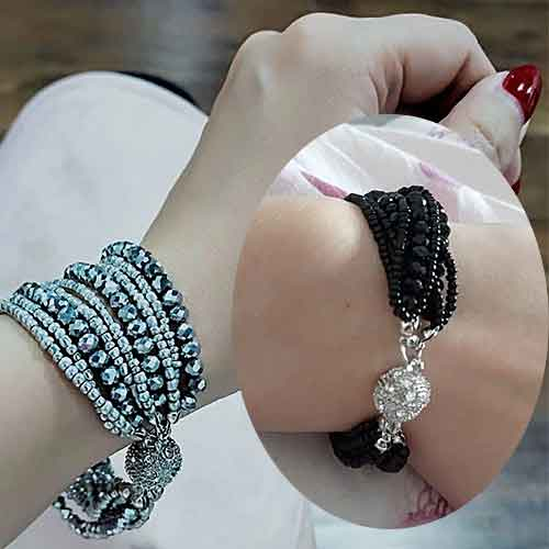 Multi-Strand-Crystal-Beads-Bracelet-on-woman's-wrist-Mayfairtrends