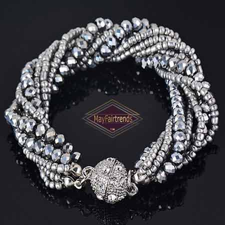 Multi-Strand-Crystal-Beads-Handmade-Bracelet-color-Gray