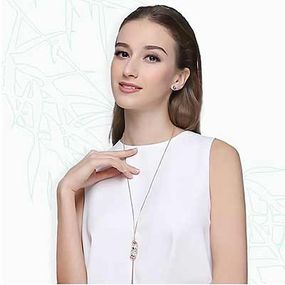 Necklace  Art Deco Lucky Crystal Bamboo Charm