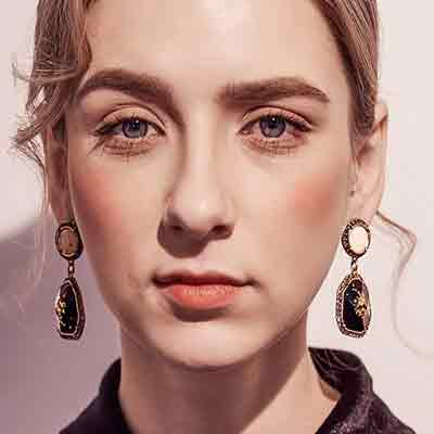 Woman-Wearing-Art Deco-Napie-Gold-Speckled-Earrings-Mayfairtrends
